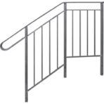 Steps, Decks, and Rails Deluxe Side Rail for 1 Step 38″ platform, 14″ deep, 16″ high
