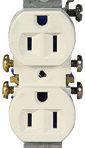 Electrical Receptacle Duplex 15 Amp 125 Volt Ivory